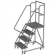 "4 Step 24""W 20""D Top Step Steel Rolling Ladder, Grip Strut Tread, 36"" Handrail - KDSR104242-D2"