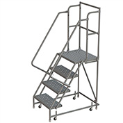 "4 Step 24""W 20""D Top Step Steel Rolling Ladder, Perforated Tread, 36"" Handrail - KDSR104246-D2"