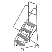 "4 Step 24""W 10""D Top Step Steel Rolling Ladder, Perforated Tread, 36"" Handrail - KDSR104246"