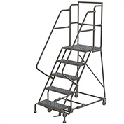 "5 Step 24""W 30""D Top Step Steel Rolling Ladder, Perforated Tread, 36"" Handrail - KDSR105246-D3"