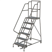 "6 Step 16""W 30""D Top Step Steel Rolling Ladder, Perforated Tread, 36"" Handrail - KDSR106166-D3"