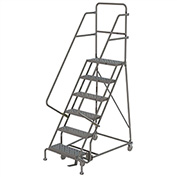 "6 Step 16""W 10""D Top Step Steel Rolling Ladder, Perforated Tread, 36"" Handrail - KDSR106166"