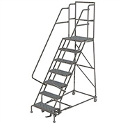 "7 Step 16""W 20""D Top Step Steel Rolling Ladder, Perforated Tread, 36"" Handrail - KDSR107166-D2"