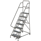 """7 Step 16""""W 10""""D Top Step Steel Rolling Ladder, Perforated Tread, 36"""" Handrail - KDSR107166"""