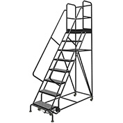 "8 Step 24""W 30""D Top Step Steel Rolling Ladder, Perforated Tread, 36"" Handrail - KDSR108246-D3"
