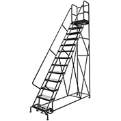 "13 Step 24""W 30""D Top Step Steel Rolling Ladder, Grip Strut Tread, 36"" Handrail - KDSR113242-D3"