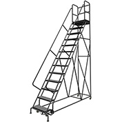 "13 Step 24""W 30""D Top Step Steel Rolling Ladder, Perforated Tread, 36"" Handrail - KDSR113246-D3"