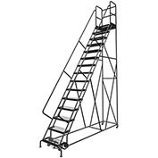 "15 Step 24""W 30""D Top Step Steel Rolling Ladder, Grip Strut Tread, 36"" Handrail - KDSR115242-D3"