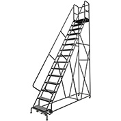 "15 Step 24""W 30""D Top Step Steel Rolling Ladder, Perforated Tread, 36"" Handrail - KDSR115246-D3"