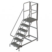 6 Step Forward Descent 50 Deg. Incline Steel Rolling Ladder Rear Exit Gate, Serr. - RWEC106242-XR