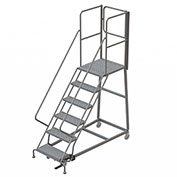 6 Step Forward Descent 50 Deg. Incline Steel Rolling Ladder Rear Exit Gate, Perf. - RWEC106246-XR