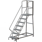 7 Step Forward Descent 50 Deg. Incline Steel Rolling Ladder Rear Exit Gate, Perf. - RWEC107246-XR