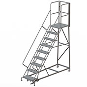 9 Step Forward Descent 50 Deg. Incline Steel Rolling Ladder Rear Exit Gate, Perf. - RWEC109246-XR