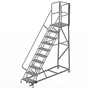 10 Step Forward Descent 50 Deg. Incline Steel Rolling Ladder Rear Exit Gate, Perf. - RWEC110246-XR