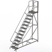 12 Step Forward Descent 50 Deg. Incline Steel Rolling Ladder Rear Exit Gate, Serr. - RWEC112242-XR