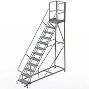 12 Step Forward Descent 50 Deg. Incline Steel Rolling Ladder Rear Exit Gate, Perf. - RWEC112246-XR