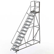 13 Step Forward Descent 50 Deg. Incline Steel Rolling Ladder Rear Exit Gate, Perf. - RWEC113246-XR