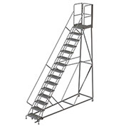15 Step Forward Descent 50 Deg. Incline Steel Rolling Ladder Rear Exit Gate, Serr. - RWEC115242-XR