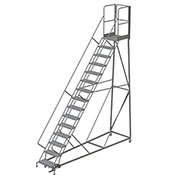 15 Step Forward Descent 50 Deg. Incline Steel Rolling Ladder Rear Exit Gate, Perf. - RWEC115246-XR