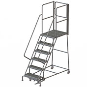 "6 Step Steel Rolling Ladder W/Rear Exit Walk Off Gate, 24""W X 30""D Plat. Serrated - RWSR106242-XR"
