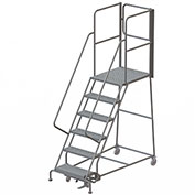 "6 Step Steel Rolling Ladder W/Rear Exit Walk Off Gate, 24""W X 30""D Plat. Perforated - RWSR106246-XR"