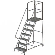 "7 Step Steel Rolling Ladder W/Rear Exit Walk Off Gate, 24""W X 30""D Plat. Serrated - RWSR107242-XR"