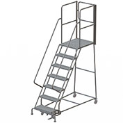 "7 Step Steel Rolling Ladder W/Rear Exit Walk Off Gate, 24""W X 30""D Plat. Perforated - RWSR107246-XR"