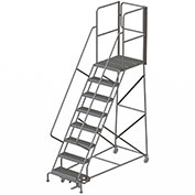 "8 Step Steel Rolling Ladder W/Rear Exit Walk Off Gate, 24""W X 30""D Plat. Serrated - RWSR108242-XR"
