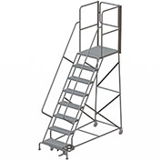 "8 Step Steel Rolling Ladder W/Rear Exit Walk Off Gate, 24""W X 30""D Plat. Perforated - RWSR108246-XR"
