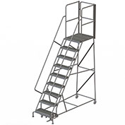 "9 Step Steel Rolling Ladder W/Rear Exit Walk Off Gate, 24""W X 30""D Plat. Serrated - RWSR109242-XR"