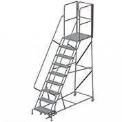 "9 Step Steel Rolling Ladder W/Rear Exit Walk Off Gate, 24""W X 30""D Plat. Perforated - RWSR109246-XR"