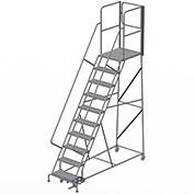 "10 Step Steel Rolling Ladder W/Rear Exit Walk Off Gate, 24""W X 30""D Plat. Perforated - RWSR110246-XR"