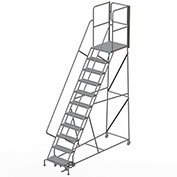 "11 Step Steel Rolling Ladder W/Rear Exit Walk Off Gate, 24""W X 30""D Plat. Perforated - RWSR111246-XR"