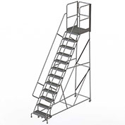 "12 Step Steel Rolling Ladder W/Rear Exit Walk Off Gate, 24""W X 30""D Plat. Serrated - RWSR112242-XR"
