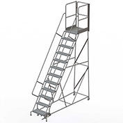 "12 Step Steel Rolling Ladder W/Rear Exit Walk Off Gate, 24""W X 30""D Plat. Perforated - RWSR112246-XR"