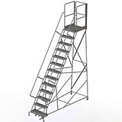 "13 Step Steel Rolling Ladder W/Rear Exit Walk Off Gate, 24""W X 30""D Plat. Serrated - RWSR113242-XR"