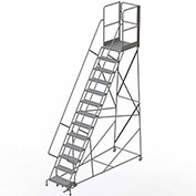 "13 Step Steel Rolling Ladder W/Rear Exit Walk Off Gate, 24""W X 30""D Plat. Perforated - RWSR113246-XR"