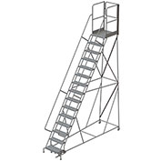"15 Step Steel Rolling Ladder W/Rear Exit Walk Off Gate, 24""W X 30""D Plat. Perforated - RWSR115246-XR"