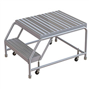 "2 Step Aluminum Rolling Ladder, 16""W Ribbed Tread, 28""D Top Step, W/O Handrails"