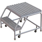"2 Step Aluminum Rolling Ladder, 16""W Grip Tread, 21""D Top Step, W/O Handrails"