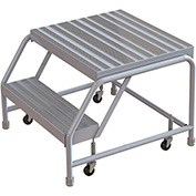 "2 Step Aluminum Rolling Ladder, 24""W Ribbed Tread, 21""D Top Step, W/O Handrails"