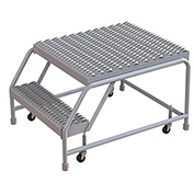 "2 Step Aluminum Rolling Ladder, 24""W Grip Tread, 28""D Top Step, W/O Handrails"