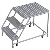 "3 Step Aluminum Rolling Ladder, 16""W Ribbed Tread, 28""D Top Step, W/O Handrails"