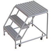 "3 Step Aluminum Rolling Ladder, 24""W Grip Tread, 21""D Top Step, W/O Handrails"