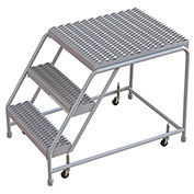 "3 Step Aluminum Rolling Ladder, 24""W Grip Tread, 28""D Top Step, W/O Handrails"