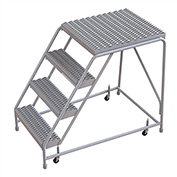 "4 Step Aluminum Rolling Ladder, 16""W Grip Tread, 28""D Top Step, W/O Handrails"