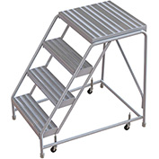 "4 Step Aluminum Rolling Ladder, 24""W Ribbed Tread, 21""D Top Step, W/O Handrails"