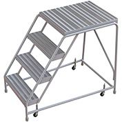 "4 Step Aluminum Rolling Ladder, 24""W Ribbed Tread, 28""D Top Step, W/O Handrails"