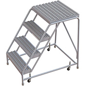 "4 Step Aluminum Rolling Ladder, 24""W Grip Tread, 21""D Top Step, W/O Handrails"