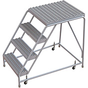 "4 Step Aluminum Rolling Ladder, 24""W Grip Tread, 28""D Top Step, W/O Handrails"